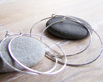 Sterling Silver Hoop Earring Set - 2 Pair Sterling Silver Hoops - Hammered Sterling Silver Hoop Earrings - Boho Hoops