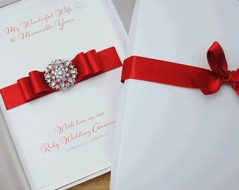 Luxury sapphire wedding anniversary card handmade 45th wedding