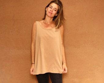 vintage TAN soft spring normcore faded SOFT slouchy scoop neck TANK top