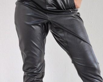 Faux Leather Pant, Black Pants,Baggy Pants,Minimal Leather Pants,Harem Pants,High Waist Pants,Dramatic Woman Leather Pants/Eco Leather Pants