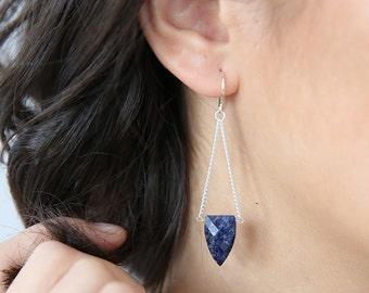 Lapis Lazuli Chained Earrings- Rare Stone- Modern Earrings- Statement Navy Earrings - Dangle Earrings - Lapis Jewelry - Lapis Earrings