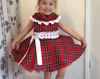 girls party dress, christmas outfit, girls clothing, tartan dress, red dress, birthday outfit, tutu dress, christmas, checked dress