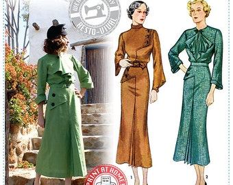 E-Pattern- Moderne- 1930s Art Deco Dress Pattern- Wearing History PDF Vintage Sewing Pattern