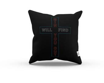 Word Series: Gin+Sin Will Find You Out Pillowcase w/Stuffing - Black Pillow / Home decor / quotes, quote, typography