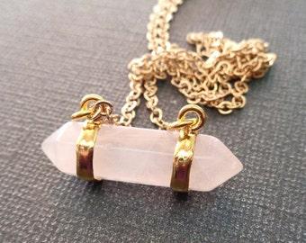 Double Terminated Rose Quartz Gold Necklace / Rose Quartz Necklace Gold / Rose Quartz Love Stone / Natural Rose Quartz Stone Pendant //GP37