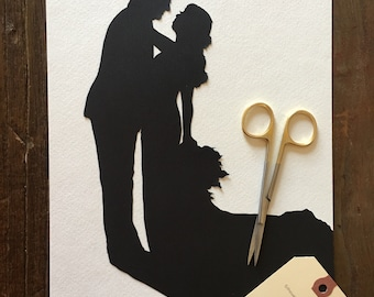 8 by 10 Custom Paper Cutouts Wedding Silhouette Wall Art - First Anniversary Paper Gift - Custom Silhouette Portrait - Anniversary Portraits