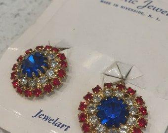 Patriotic Earrings, Red, White and Blue Earrings, Clip on Earrings, Fourth of July, Rhinestones, Independance Day