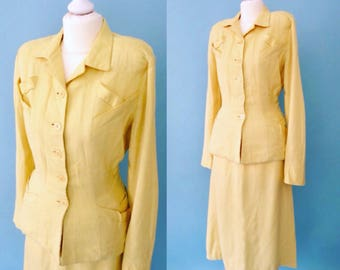 1940s fabulous vintage classic yellow linen suit by Ever Lure - 40s mustard summer dress suit - jacket and skirt set