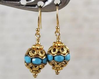 Vintage Turquoise Rhinestone Golden Filigree Beaded Dangle Earrings