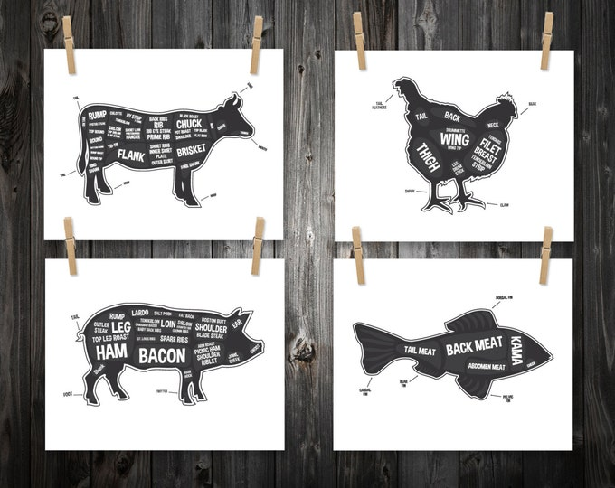 Featured listing image: 4 Butcher Diagram Prints, Cow, Pig, Fish, Chicken, Kitchen Print, Butcher Chart, Kitchen Art, Butcher Diagram, Butcher Prints, Cuts of Meat