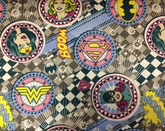 Girl Power - Gray Grey Badge Fabric - Camelot Fabric Style 23400405 Wonder Woman Super Girl Bat Girl