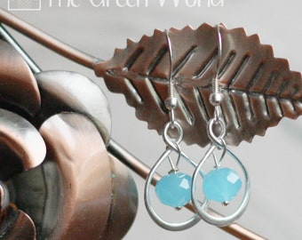 Sterling Silver Infinity Loop Drop Earrings with Aqua Crystal Briolettes