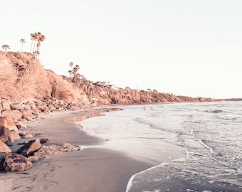 San Diego Beach Photography, Swami's Beach Photo, California Wall Art, Seaside Photo, Pastel Beach Art, Purple, Gray, Coastal Decor