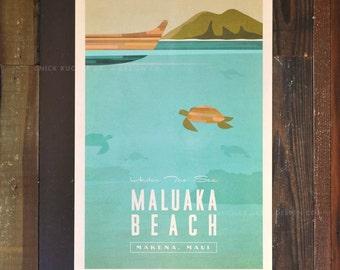Maluaka Beach, Maui - 12x18 Retro Hawaii Travel Print
