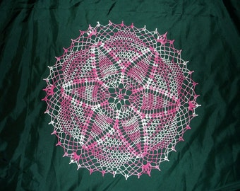 New Handmade Crocheted Star Struck Doily in Cotton Candy 20 inches