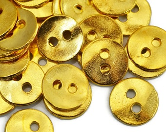 12mm Button Round - Gold - QTY: 6, 8 or 12