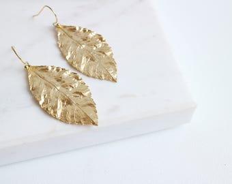 Gold Leaf Dangle Earrings, Real Leaf Earrings, Delicate Gold Earrings, Nature jewelry, Woodland Jewelry, Leaf Jewelry.