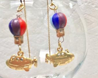 Steampunk Vintage Yellow Submarine Earrings