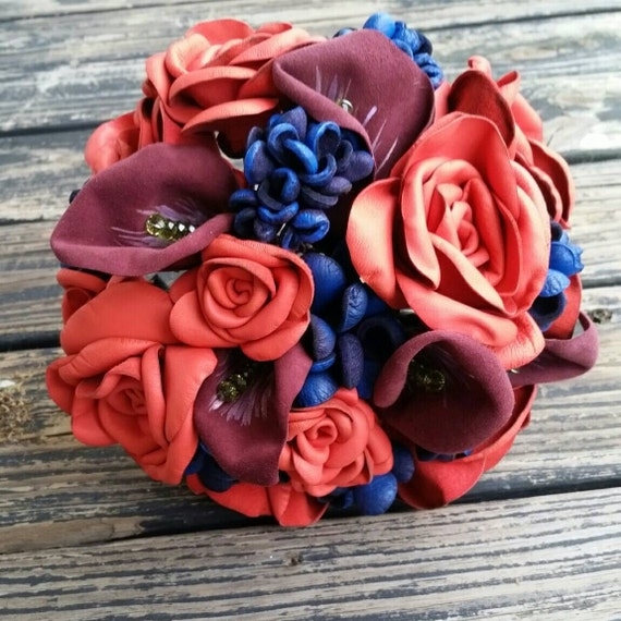 Bouquet, Custom Leather Flower Bridal Bouquet for Wedding or Third Anniversary