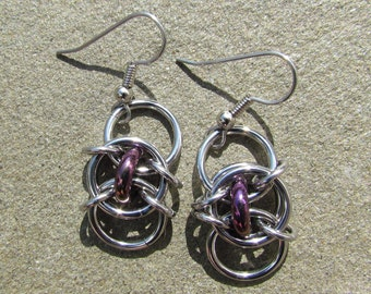 Chain Maille Earrings, Purple Earring, Glass Jewelry, Iris Purple Glass Earrings