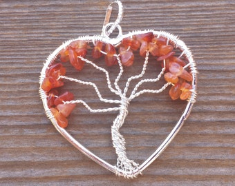 Heart Style CARNELIAN Tree Of Life Wire Wrapped Pendant Stone Natural Gemstone