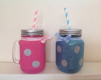 Glitter drinking glasses with handles