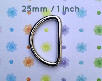 5 Pieces Unwelded D rings - 1 inch / 25 mm for bags and other sewing projects (available in nickel and antique brass finish)