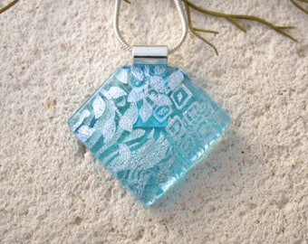 OOAK Silver Aqua Necklace, Handmade Jewelry, Aqua Blue Pendant, Blue Necklace,  Dichroic Jewelry, Fused Glass Jewelry, ccvalenzo, 122017p105