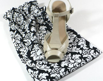 Damask, Shoe Bags, Black and white, Travel, Set of 2, Lingerie, Ready to Ship, Drawstring bag