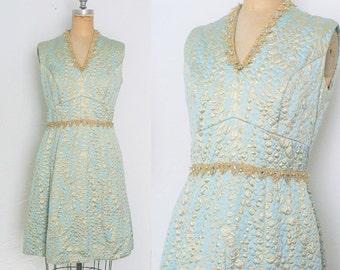 Vintage 1960s Blue and Gold Dress Cocktail Dress Gold Polka Dot Dress Blue Polka Dot Dress Light Blue Knee Length Size 6 Size