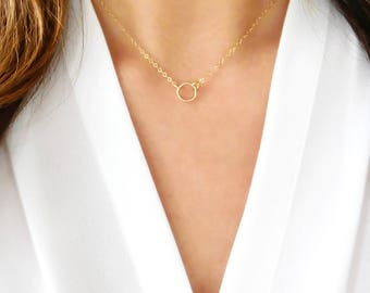 Circle Necklace   Tiny Halo Necklace 14kt Gold Filled or Sterling Silver   Karma Necklace