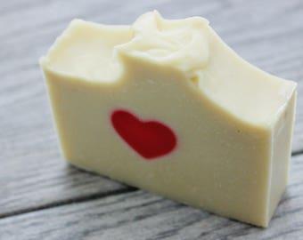 "Handmade Heart Soap - Pink Heart Soap - Kaolin Clay Soap - Valentine's Soap - Cold Process Soap - Homemade Soap - ""I Love You"" Gift"