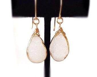 White Druzy Gold Earrings, Dangle Earrings, Gold Earrings, Bridesmaid Earrings, Gemstone Earrings, Drusy Earrings, Bridal Earrings