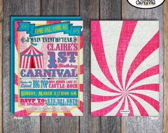 Carnival Invitation | Circus Invitation | Carnival Invite | Circus Invite | Carnival Birthday Party | Pink Blue Yellow | Vintage | Printable