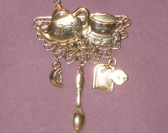 Beautiful Tea Pot and Tea Cup Brooch - Two for Tea Pin - Antique Gold - Studio BZ Original