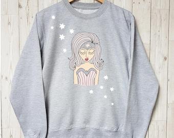 Miss Special Powers Sweatshirt - Womens Sweatshirt - Fashion Sweatshirt - Gift for Teen - Gift for Mum- Mums Gift- grey sweats