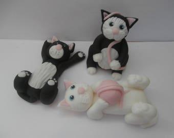Edible cats X 3, Birthday, cake topper,boy, girl, lady,man,cake decoration