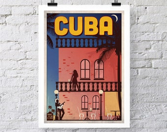 Vintage Travel Print: Cuba Wall Art poster