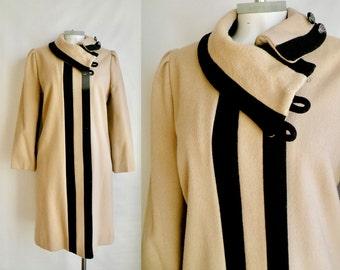 70s Tan an Black Wool Coat Winter Jacket - M