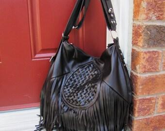 Dark brown fringe leather bag hobo style messenger and backpack purse