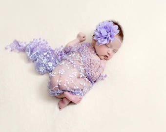 Baby Wrap and Headband Set, Newborn Photo Prop, Baby Girl Prop, Lace Wrap Set, YOU CHOOSE COLOR
