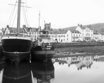 Inveraray Scotland boats and village black and white photograph