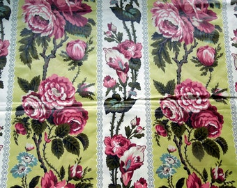 """Floral Chintz Fabric Cabbage Roses Signed  Pink Green Yellow Polished Cotton Screen Print VAT BTY 36"""" W DIY Preshrunk Seamstress Vintage"""