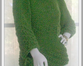 SWEATER WOMENS KNITTED   Bracelet length sleeves High Neck Bulky Chunky Ladies