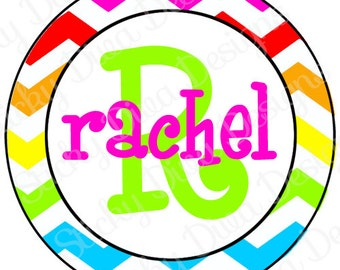 PERSONALIZED STICKERS - Custom Girly Colorful Cheveron Monogrammed Labels - Round Gloss Labels