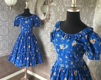 Vintage 1970's Blue Floral Print Tiered Square Dancing Dress Medium