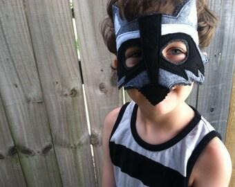 Raccoon Costume - Felt Animal Mask and Tail - Wool or Eco Felt - Mask and Tail Costume Gift Set