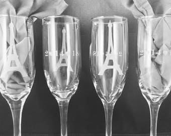 Champagne Flutes Etched Custom, Weddings, Anniversaries, Special Occasion Bridesmaids, Maid of Honor, birthday, gifts