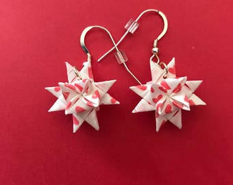 Moravian Star Earrings—Hearts