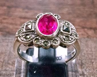 Vintage Garnet + Hematite Pyrite Sterling Silver Ring Size 8